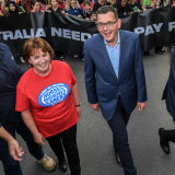 The ANMF's Lisa Fitzpatrick at a rally with Premier Daniel Andrews in 2018