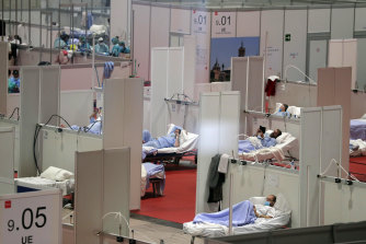 A temporary field hospital has been set up in a convention centre in Madrid, Spain.