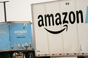 Amazon.com semi-trailers sit at a fulfilment centre in Baltimore.