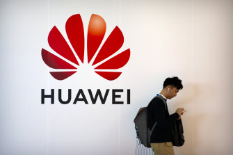 The Huawei logo at an expo n Beijing in 2019.