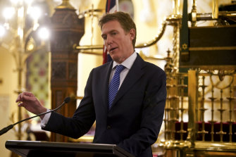 Attorney-General Christian Porter delivers a speech announcing the release of an exposure draft of the Religious Discrimination Bill on Thursday at the Great Synagogue in Sydney.