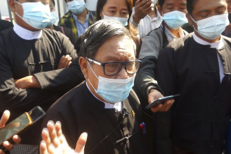 Khin Maung Zaw, a lawyer asked by the National League for Democracy party to represent deposed Myanmar leader Aung San Suu Kyi, speaks outside the Dakhi Na District Court in Naypyitaw.