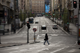 The silent streets of Madrid.