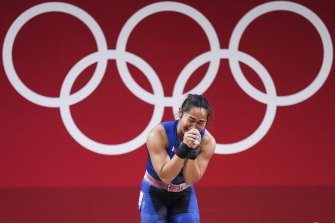 Hidilyn Diaz of the Philippines cries after winning the women's 55kg weightlifting in Tokyo.