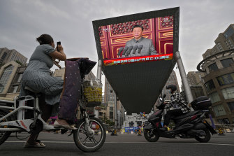 Chinese President Xi Jinping speaking at a ceremony marking the centenary of the Chinese Community Party.