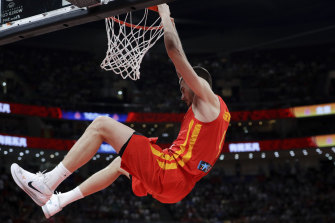 Juancho Hernangomez of Spain dunks the ball during their FIBA Basketball World Cup final on Sunday against Argentina at the Cadillac Arena in Beijing.