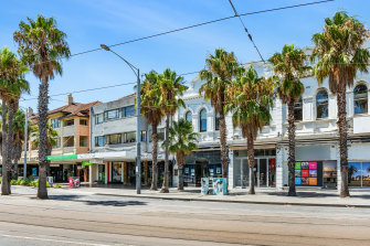 Three buildings at 7-15 Fitzroy Street in St Kilda are for sale.
