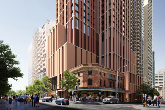 A render of the build-to-rent project that will rise above the Pitt Street Metro station.