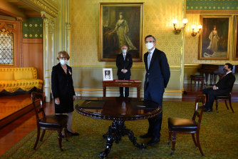 NSW Premier Dominic Perrottet is sworn in by NSW Governor Margaret Beazley.