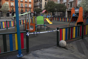 A playground taped off in Madrid on Sunday.