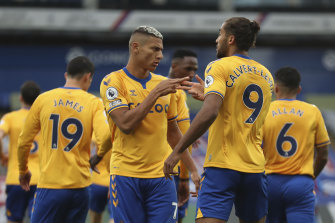 Richarlison (left) and Dominic Calvert-Lewin celebrate and Everton goal against Palace.