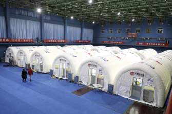 A temporary COVID-19 testing laboratory built on an indoor tennis court in Shijiazhuang in northern China's Hebei Province.