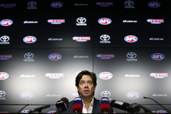 """A clash with the Victorian racing calendar might see the revised AFL grand final pushed to a night slot but CEO Gillon McLachlan says it'd be a """"one-off""""."""