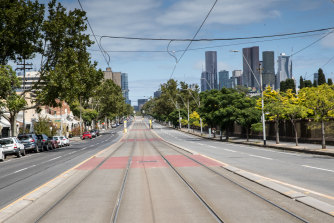 Empty Melbourne streets looking towards the city from Carlton North.