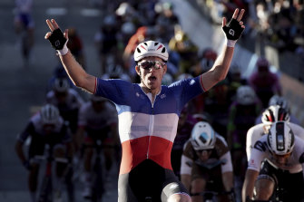 France's Arnaud Demare celebrates his win in stage six of the Giro d'Italia.
