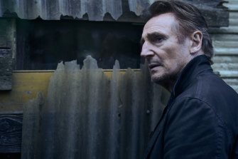 Liam Neeson as Travis Block on the set of the film Blacklight.