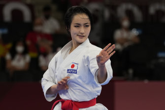 Kiyou Shimizu of Japan competes in the elimination round of the women's kata.