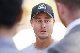 Lleyton Hewitt addresses the media in Melbourne on Tuesday.