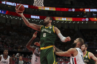 Andrew Bogut plays for Australia at the World Cup in China last month, where he was booed by crowds.