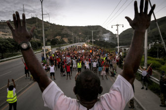 Hundreds of Port Moresby residents on a predawn walk to promote safety on the streets.