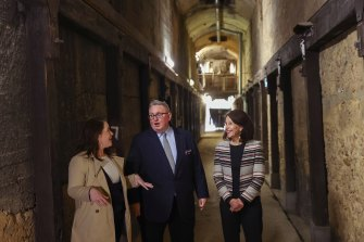 Special Minister of State and Minister responsible for Heritage Don Harwin,  North Shore MP Felicity Wilson and North Sydney mayor Jilly Gibson inside the tunnels of the Coal Loader. at Waverton.