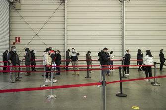 Vaccine queues in Melbourne.