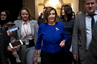 US House Speaker Nancy Pelosi, a Democrat from California, walks though the US Capitol on Thursday.