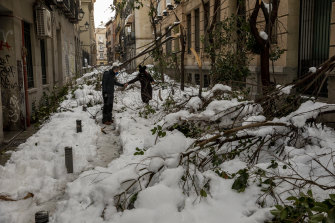People walk along a road with fallen branches a day after the heaviest snowfall in decades in Madrid, Spain