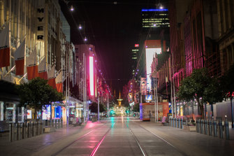 Bourke Street Mall on Monday night as the city returned to lockdown.