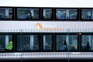 Plenty of seats: commuters on the train at Sydney's Central Station.