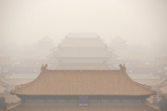 The Forbidden City is seen on a day with high levels of air pollution in Beijing.