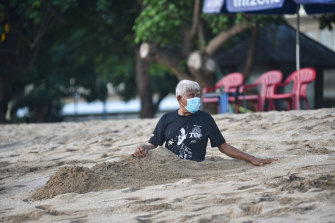 The beaches of Bali have been emptied by the pandemic.