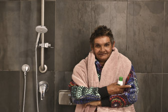 Lani McLachlan enjoying the new showers at Wayside installed earlier this year. Although Wayside doesn't provide any overnight accommodation, it provides showers, food and clean clothes to many of its visitors who may be homeless.