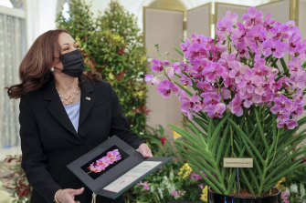 Kamala Harris had an orchid named in her honour during her visit to Singapore's presidential palace on Monday.