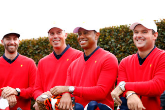 Tiger Woods with, from left, Dustin Johnson, Matt Kuchar and Patrick Reed on Wednesday.