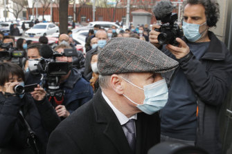 Jim Nickel, the deputy chief of mission for the Canadian Embassy in China, is mobbed by reporters as he arrives at the court to attend former diplomat Michael Kovrig's trial in Beijing, on Monday, March 22.