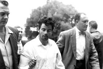 Prison escapee Kevin Simmonds, pictured on 16 November 1959, the day after his re-capture.