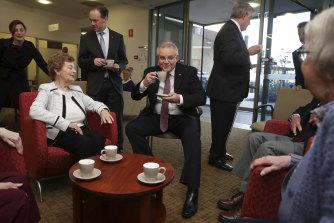 Prime Minister Scott Morrison visits a Canberra retirement village with ministers Greg Hunt and Ken Wyatt in September 2018.