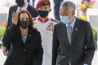 Harris is welcomed by Singapore's Prime Minister Lee Hsien Loong at the Istana, the presidential palace, on Monday.