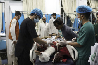 A victim receiving medical assistance after the terrorist attack at Kabul's international airport on Thursday, August 26, 2021.