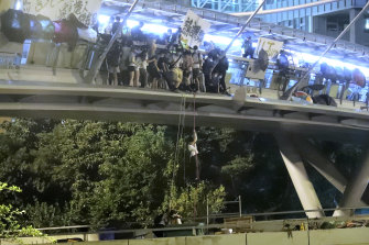 Dozens of people are reported to have escaped down the ropes.