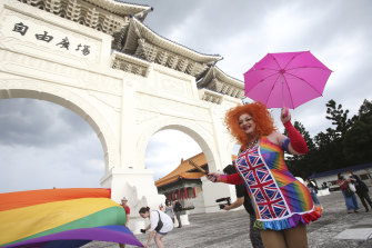 Participants march during the 'Taiwan Pride March for the World!' at Liberty Square.