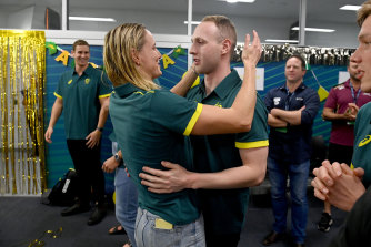 Bronte Campbell embraces Matt Wilson after the pair were announced for the Tokyo Olympic team in Adelaide on Thursday.
