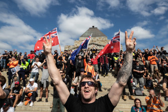 The protests at the Shrine of Remembrance were widely condemned.