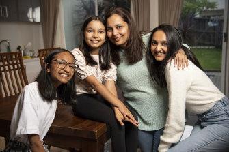 Nusrat Aga with her three children (from left) Daanya, 15, Zainah, 10, and Sabeeka, 23.