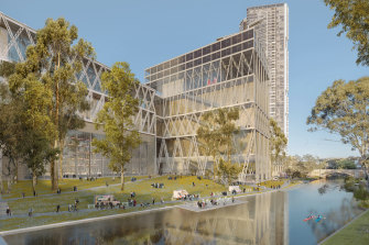 """Overgrown double milk crate"": an artist's impression of the new Powerhouse Museum in Parramatta."