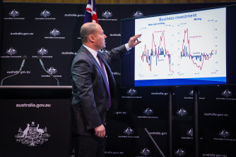 "Treasurer Josh Frydenberg described Australia's economic crunch as ""devastating"" in the first recession in about 30 years."