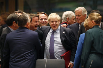 British Prime Minister Boris Johnson with European leaders, including German Chancellor Angela Merkel (second right) and Luxembourg's Prime Minister Xavier Bettel, centre left, during a round table meeting on Thursday.