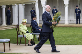 The Queen was joined by high commissioner George Brandis at the service.