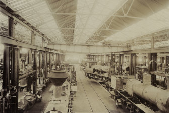 Railway workshops at Newport about 1899.